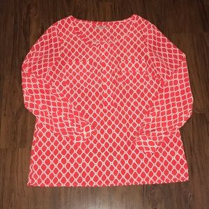 Orange/Red & White print blouse
